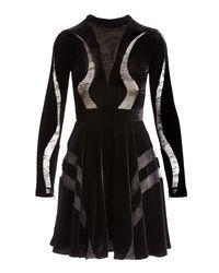 Elie Saab - Black Long-sleeve Lace-inset Velvet Cocktail Dress - Lyst