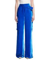Monse Blue Wide-leg Velvet Cargo Pants