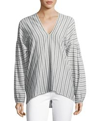 Vince - Multicolor Variegated Stripe Long-sleeve Pullover Top - Lyst