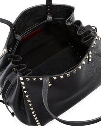 Valentino - Black Rockstud Double Handle Tote Bag - Lyst