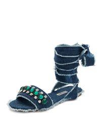 Miu Miu | Blue Jeweled Denim Lace-up Sandal | Lyst