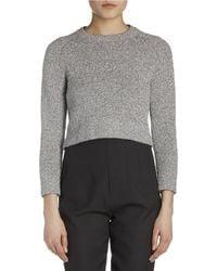 Balenciaga - Gray Bracelet-sleeve Shrunken Knit Sweater - Lyst