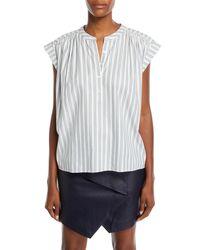 Joie Multicolor Jacquita Shadow-stripe Cotton Cap-sleeve Top