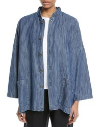 Eskandar - Blue Mandarin-collar Button-front Denim Jacket - Lyst