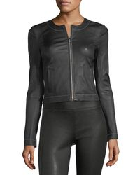 Elizabeth and James - Black Helen Zip-front Fitted Leather Jacket With Contrast Stitching - Lyst
