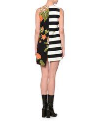 MSGM - Black Sleeveless Floral & Stripe Shift Dress - Lyst