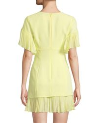 Cinq À Sept - Yellow Rosaria Crewneck Short-sleeve Sheath Dress W/ Pleated Chiffon Trim - Lyst