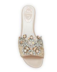Rene Caovilla - Natural Embellished Flat Lace Slide Sandal - Lyst