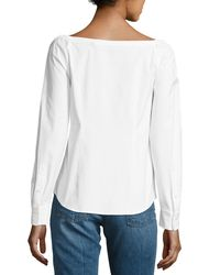 Theory - White Auriana Stretch-cotton Off-the-shoulder Shirt - Lyst