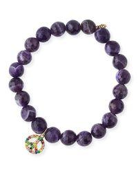 Sydney Evan | Purple 8mm Amethyst Beaded Bracelet With Rainbow Sapphire Peace Charm | Lyst
