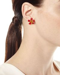 Oscar de la Renta - Red Delicate Flower Button Earrings - Lyst