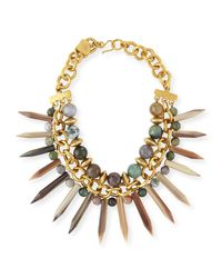 Ashley Pittman - Metallic Kali Mixed Horn Beaded Spike Necklace - Lyst