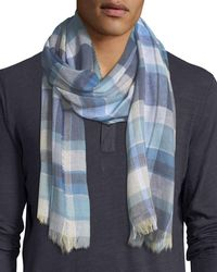 Begg & Co - Blue Cottlea Plaid Cotton-linen Scarf for Men - Lyst