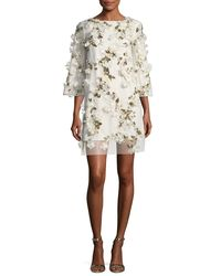 Marchesa notte White Embellished 3d Floral Sequin Tunic Cocktail Dress