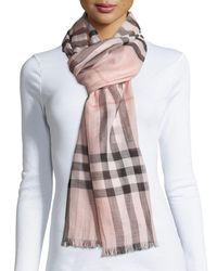 Burberry - Multicolor Gauze Giant Check Scarf - Lyst