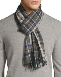 Begg & Co - Gray Tartan Plaid Cashmere Scarf With Fringe for Men - Lyst