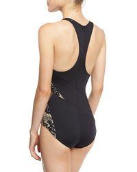Carmen Marc Valvo - Black Ornamental Floral Mesh High-neck One-piece Swimsuit - Lyst