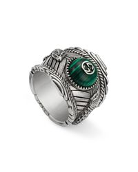 Gucci - Men's Feline Head Green Resin Ring - Lyst