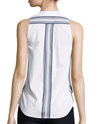 10 Crosby Derek Lam - White Sleeveless Poplin Wrap Top - Lyst
