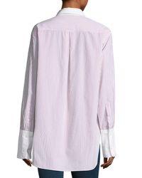 Rag & Bone - Blue Essex Striped Shirt With Contrast Trim - Lyst