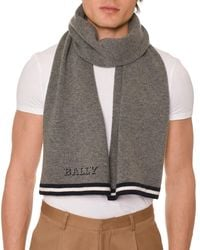 Bally - Gray Men's Contrast-trim Wool Scarf With Logo for Men - Lyst