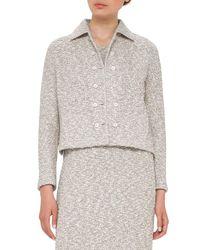 Akris | White Hadow Boucle Tweed Jacket | Lyst