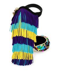 Dolce & Gabbana - Multicolor Sequined Fringe-heel Mary Jane Pump - Lyst