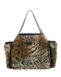 Stella McCartney - Brown Small Falabella Snow Cat Fur Free Fur Reversible Tote Bag - Lyst