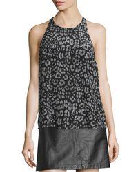 Joie - Black Brighton Animal-print Sleeveless Silk Top - Lyst