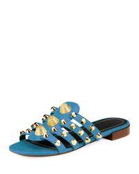 Balenciaga | Blue Studded Caged Flat Slide Sandal | Lyst