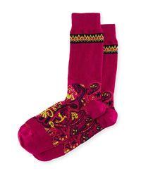 Etro - Purple Short Paisley Socks for Men - Lyst
