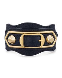 Balenciaga - Blue Metallic Edge Leather Belt-style Bracelet - Lyst