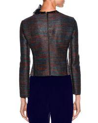 Giorgio Armani - Blue Woven Leather Zip Jacket - Lyst