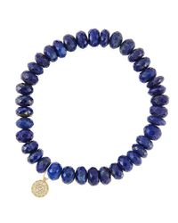 Sydney Evan | Blue 8mm Faceted Lapis Beaded Bracelet With 14k Yellow Gold/diamond Small Disc Charm (made To Order) | Lyst