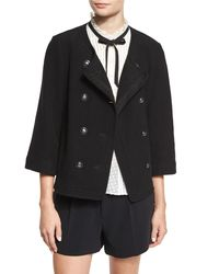 Joie | Black Leija Three-Quarter Length Sleeved Double-Breasted Wool-Blend Jacket | Lyst