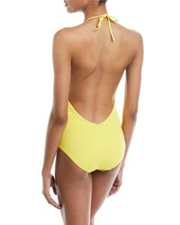 Onia - Yellow Nina Deep-v Halter Solid One-piece Swimsuit - Lyst