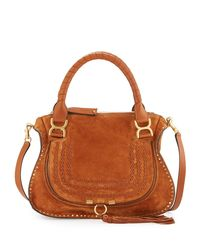 Chloé | Brown Marcie Suede Satchel Shoulder Bag | Lyst