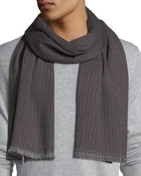 Ermenegildo Zegna | Gray Ribbed Wool Scarf for Men | Lyst