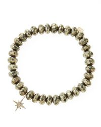 Sydney Evan - Metallic Champagne Pyrite Beaded Bracelet With 14k Gold/diamond Small Starburst Charm (made To Order) - Lyst