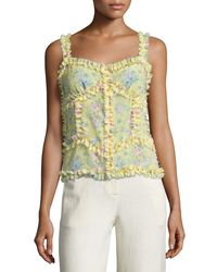 Attico - Yellow Patchwork Floral Silk Camisole Top - Lyst