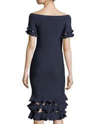 Jonathan Simkhai - Blue Slashed Off-the-shoulder Stretch-knit Cocktail Dress W/ Ruffle Trim - Lyst