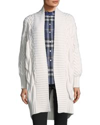 Burberry - White Camrosebrook Cabled Cardigan - Lyst
