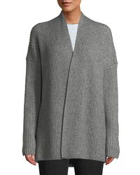 Vince Gray Ribbed Open-front Yak-wool Cardigan