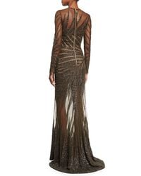 Elie Saab - Black Long-sleeve Palm-embroidered Gown - Lyst