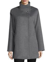 Cinzia Rocca | Gray Wool Stand-collar Coat | Lyst