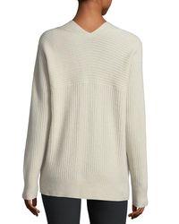 Vince - Multicolor Raglan Ribbed Deep V-neck Wool-cashmere Sweater - Lyst