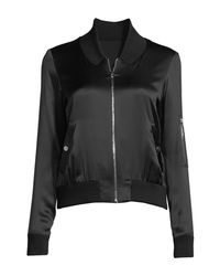 Elie Tahari - Black Brandy Silk Satin Bomber Jacket - Lyst