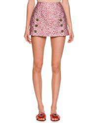 Dolce & Gabbana - Gray Leopard-print Fil Coupe Mini Skirt - Lyst