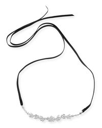 Fallon | White Monarch Florette Leather Choker Necklace With Crystals | Lyst