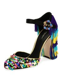 Dolce & Gabbana | Multicolor Sequined Fringe-heel Mary Jane Pump | Lyst